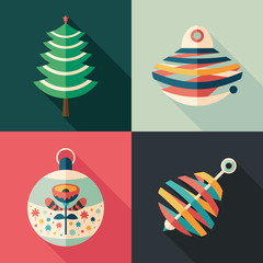 Colorful Christmas tree toys flat square icons.