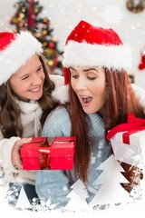 Composite image of festive mother and daughter exchanging gifts