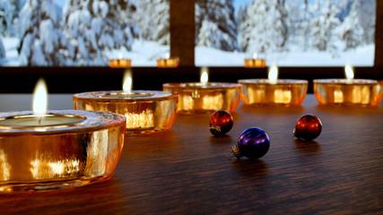 Stillleben mit Kerzen und Christbaumkugel, 3D Render