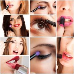 Women applying make-up