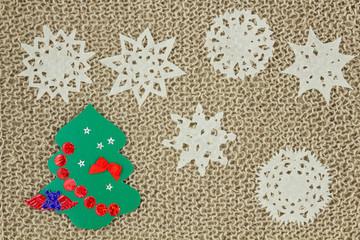 Jute yarn knitted fabric. Snowflakes, Christmas Tree.