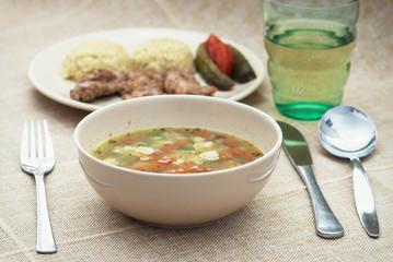 Vegetable soup and pork tenderlion