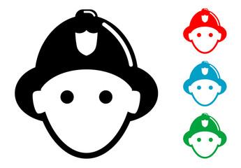 Pictograma icono bombero con varios colores