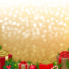 Golden Bokeh With Gift Box