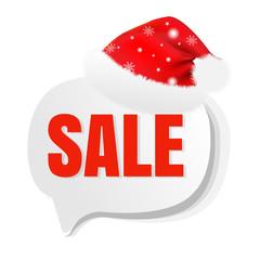 Xmas Sale Speech Bubble With Santa Hat