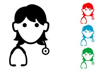 Pictograma icono doctora con varios colores