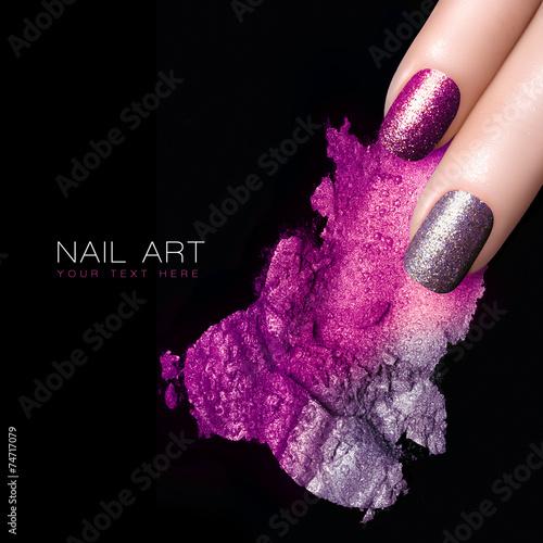 Silver Purple Nail Polish and Mineral Colorful Eye Shadow - 74717079