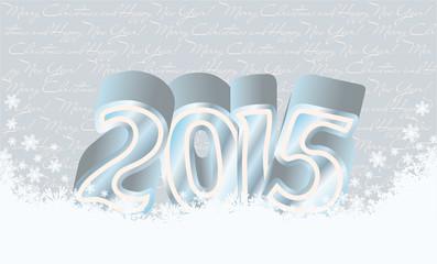Happy new 2015 year snow card, vector illustration