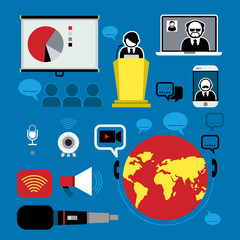 Flat Icons Design about Conference
