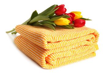 Bath towel with fresh tulips