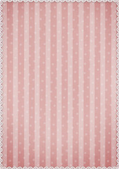Pastel pink background with stripes and polka dots