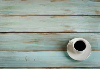 Coffee   on a  blue  wooden background