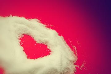 Sweet heart of sugar on red. Vintage