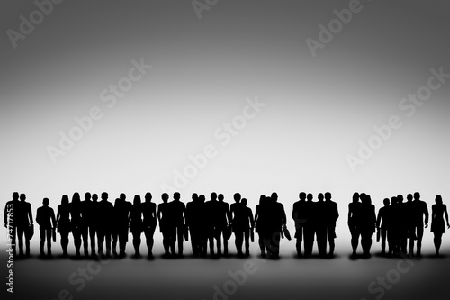 Group of business people silhouettes looking ahead together - 74717853