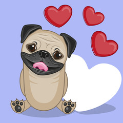 Pug Dog with hearts