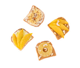 Toast with pineapple fruit for breakfast meal.