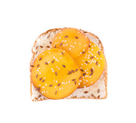 Toast with peach fruit for breakfast meal.