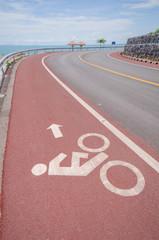 Bike lane situated at the seaside. Chanthaburi, Thailand
