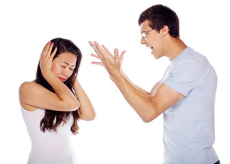 Young man shouting at his girlfriend
