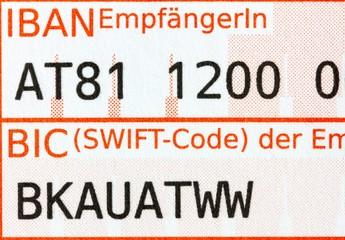 Detailaufnahme Zahlschein IBAN/BIC-Feld