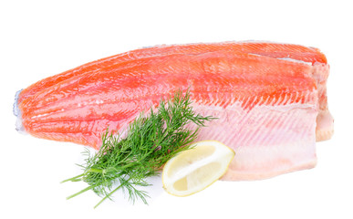Trout fish fillet isolated on a white background