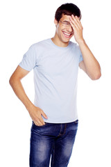 Guy with hand on head
