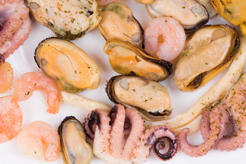 Close up of seafood products.