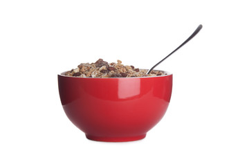 red dish with cereals isolated