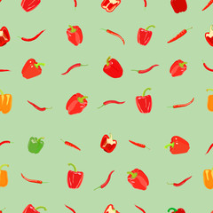 Pepper pattern on colored background