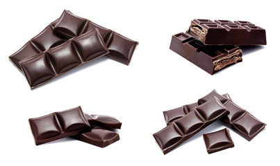 Collection of photos dark chocolate bars stack  isolated