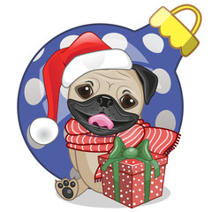 Pug Dog in a Santa hat