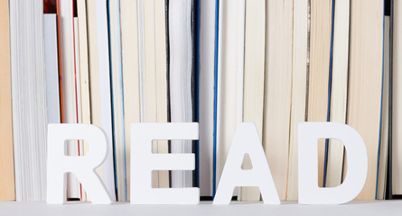 Word read with books background