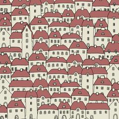 Cartoon hand drawing houses, vector