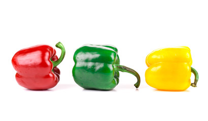 Green red and yellow pepper.