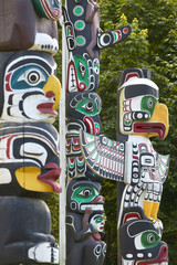 Indian totem poles in Vancouver. British Columbia. Canada.