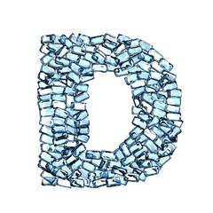 d lettera zaffiro blu azzurro gemme 3d, sfondo bianco
