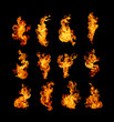 Leinwanddruck Bild - High resolution fire collection isolated on black background