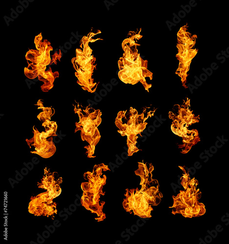 Papiers peints Feu, Flamme High resolution fire collection isolated on black background