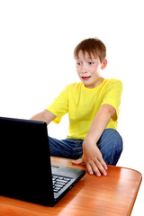Scared Kid with Laptop