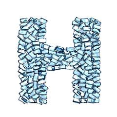 h lettera zaffiro blu azzurro gemme 3d, sfondo bianco