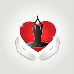 Healthy human health care symbol. Woman in yoga pose and abstrac