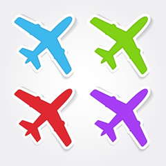 Airplane Sign Colorful Vector Icon Design
