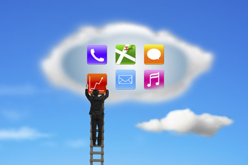 climbing businessman getting app icons from cloud with nature sk