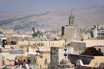 View of Fez Medina with mountain at the background