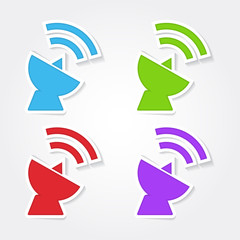 Satellite Dish Sign Colorful Vector Icon Design