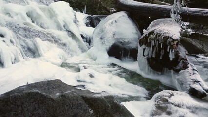Icy Mountain Creek Waterfall dolly shot
