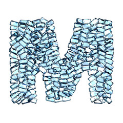 m lettera zaffiro blu azzurro gemme 3d, sfondo bianco
