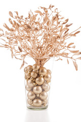 gold mistletoe on white background