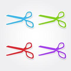 Scissor Sign Colorful Vector Icon Design