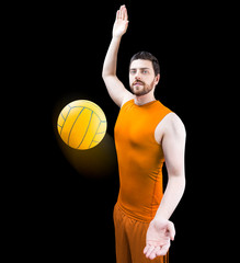 Volleyball player on orange uniform on black background